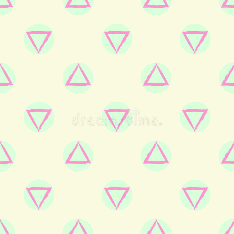 Abstract geometric seamless pattern vector background with green purple and beige pastel colored circle and triangle shapes. Colorful royalty free illustration