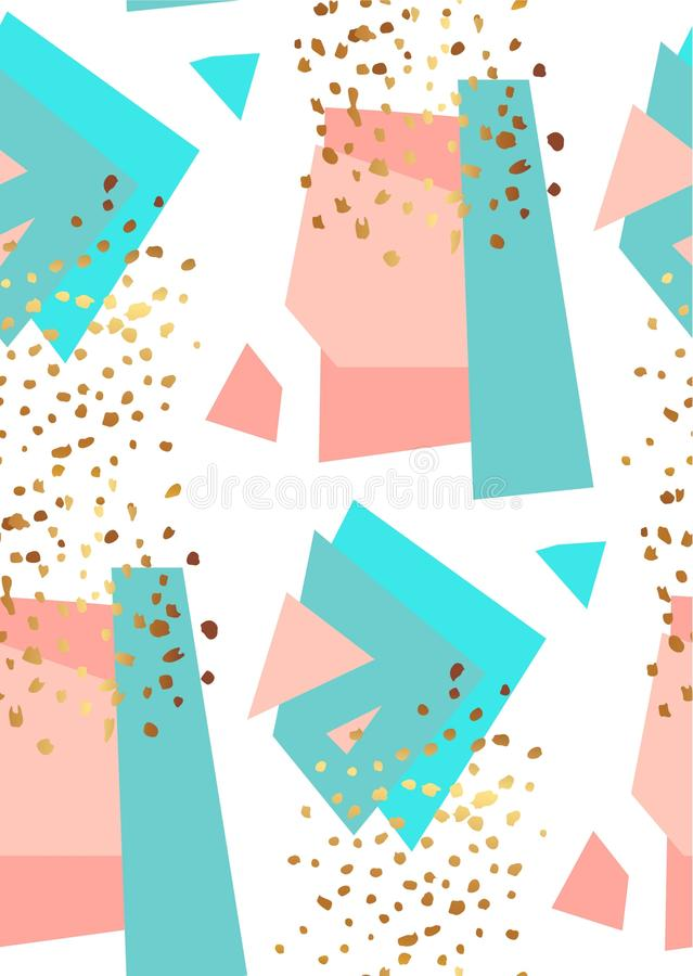 Abstract geometric seamless pattern in white, gold,blue and pastel pink. Hand drawn vintage texture, lines, dots pattern stock illustration