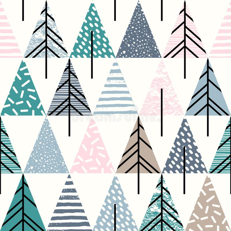 Abstract geometric seamless repeat pattern with christmas trees. vector illustration