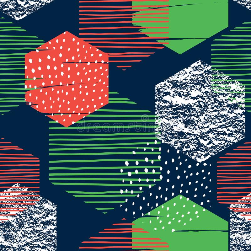 Abstract geometric seamless repeat pattern with hexagons. Trendy hand drawn textures. Modern abstract design for paper, cover, fabric, interior decor and other vector illustration