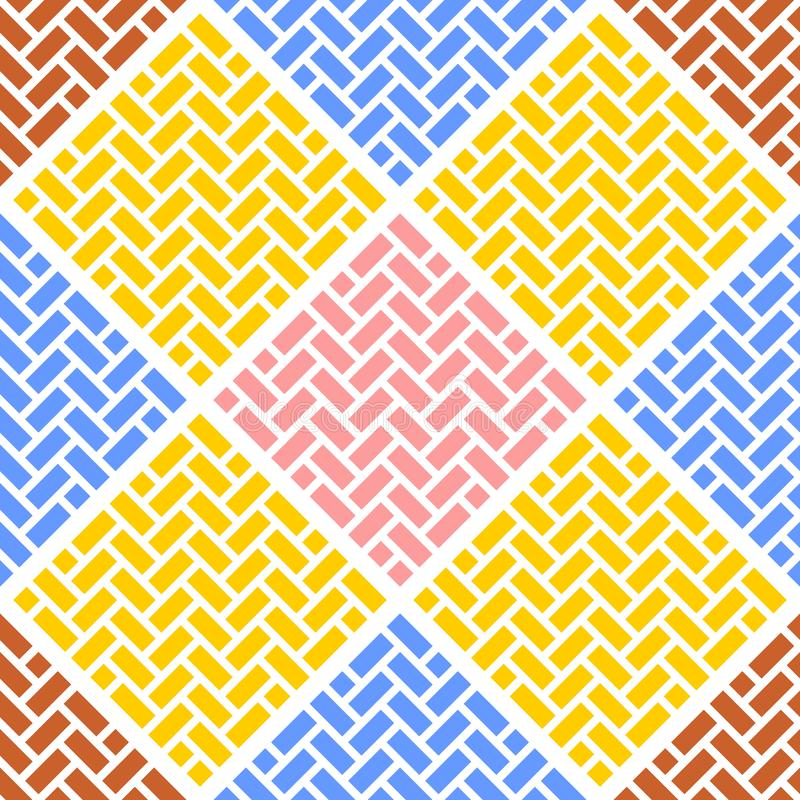 Abstract geometric seamless vector pattern of the bricks. Tiles laid out in Braid pattern, squares from the rectangles, fun. Colorful texture vector illustration