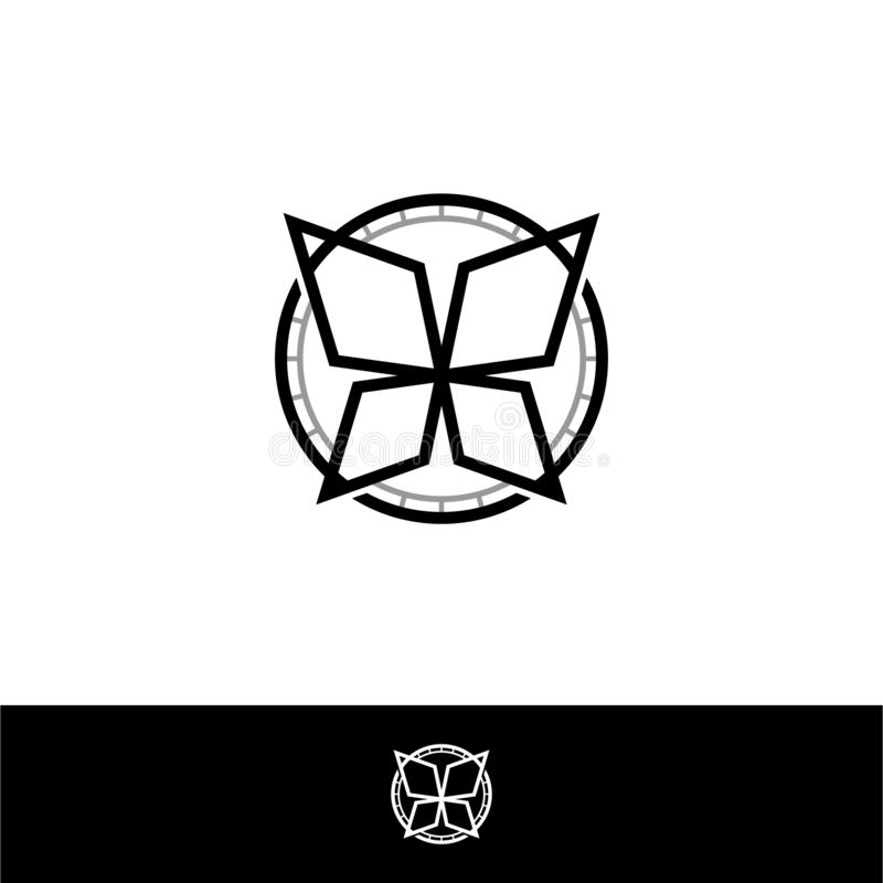 Abstract geometric shape inside circle frame vector. Abstract decorative geometric circle shape vector symbol royalty free illustration