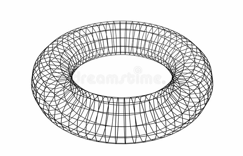 Abstract geometric shape. Wireframe object isolated on white stock illustration