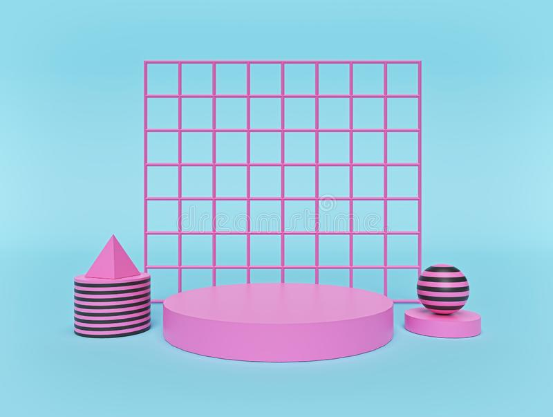 Abstract Geometric shapes background with podium. modern minimal style. pastel colors. 3d rendering royalty free illustration