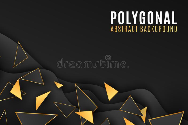Abstract geometric shapes background. Stylish cover for your design. Low poly style. Black and gold triangles. Fluid design. stock illustration