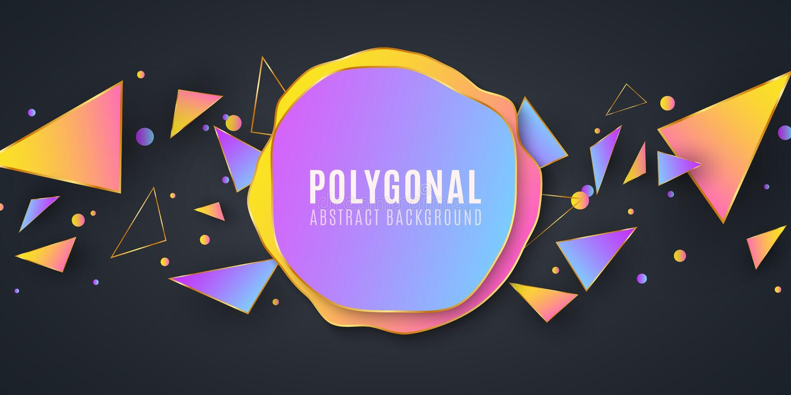 Abstract geometric shapes. Banner for your design. Liquid design. Chaotic triangles. Polygonal shapes background. Low poly. Vector stock illustration