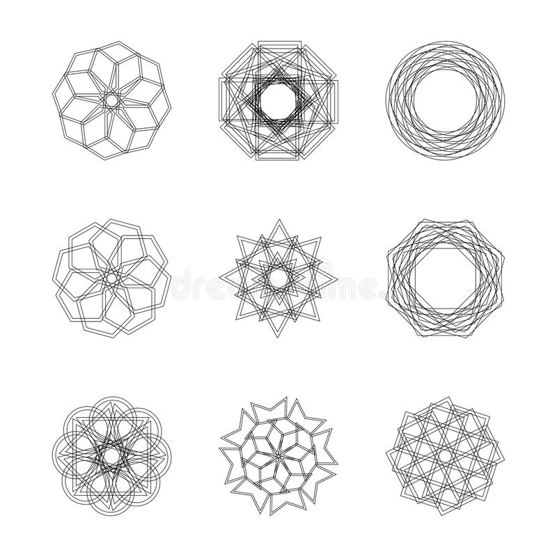 Abstract geometric shapes, futuristic wavy fractal in vector. Abstract geometric shapes, futuristic wavy fractal of star and circle. Vector square and other vector illustration