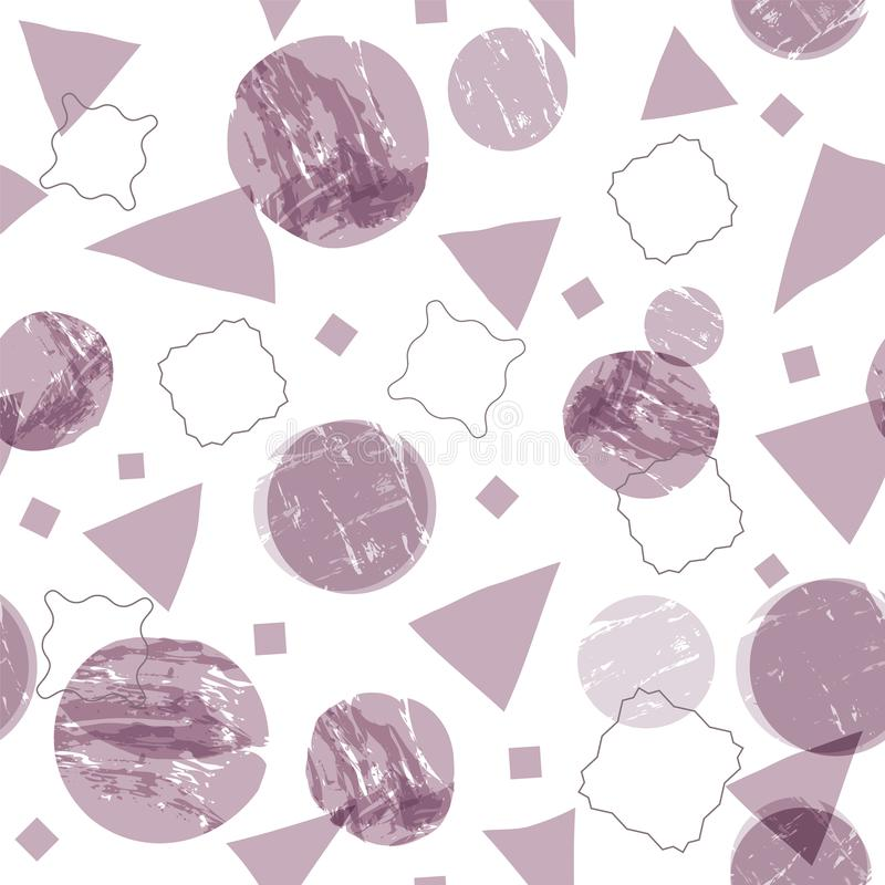 Abstract geometric shapes seamless background with grunge texture. Circles, squares and triangles with painterly effect. Vector vector illustration