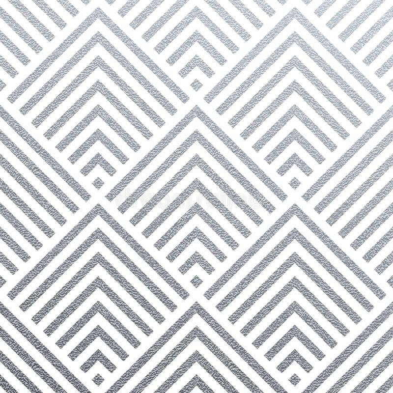 Abstract geometric silver pattern background of square or triangle mesh ornament seamless tiles for modern design template. Vector royalty free illustration