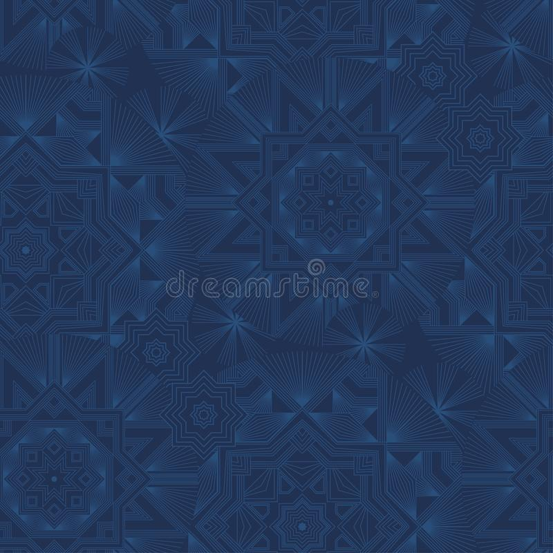 Abstract geometric snowflakes seamless blue background vector illustration