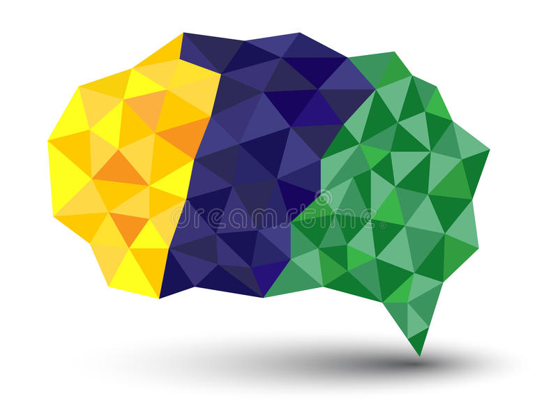 Abstract geometric speech bubble with triangular polygons with. stock illustration