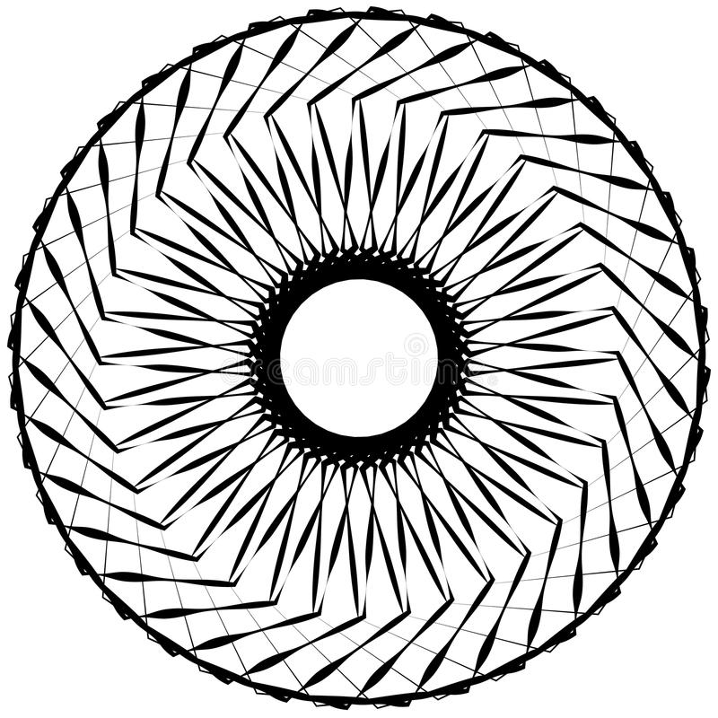 Abstract geometric spiral element with intersecting lines royalty free illustration