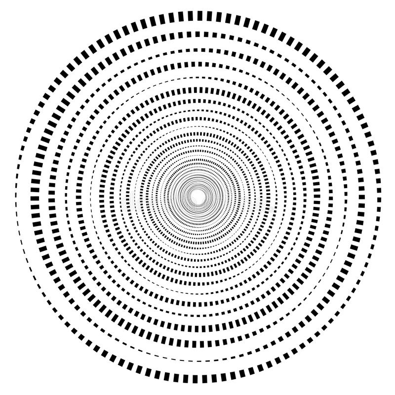 Abstract geometric spiral, ripple element with circular, concentric lines. Abstract monochrome element royalty free illustration