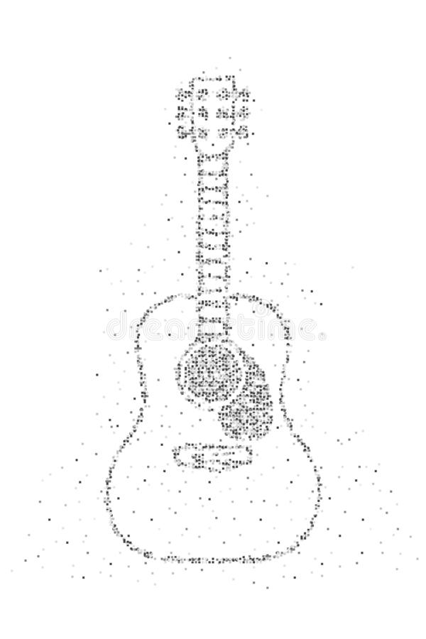 Abstract Geometric Square box pixel pattern Acoustic Guitar shape, music instrument concept design black color illustration on stock illustration