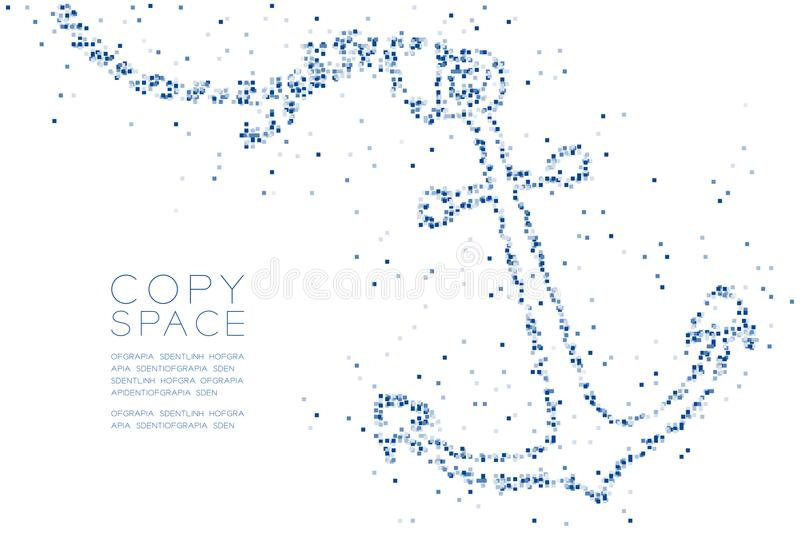 Abstract Geometric Square box pixel pattern Anchor shape, aquatic and marine life concept design blue color illustration. On white background with copy space royalty free illustration