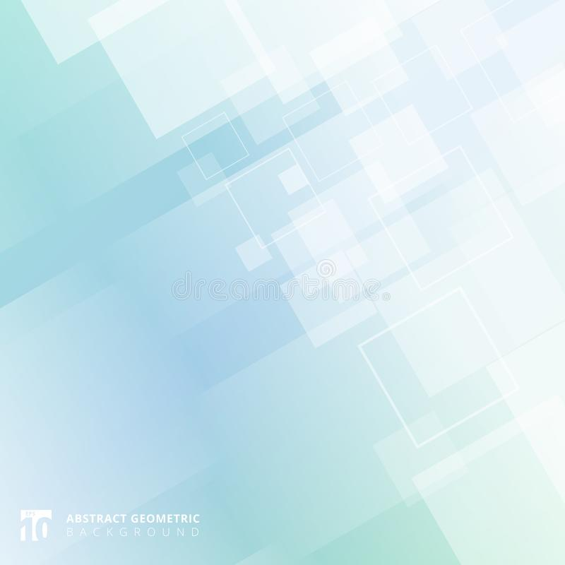 Abstract geometric squares pattern overlay motion on blue gradient color background technology. Vector illustration royalty free illustration