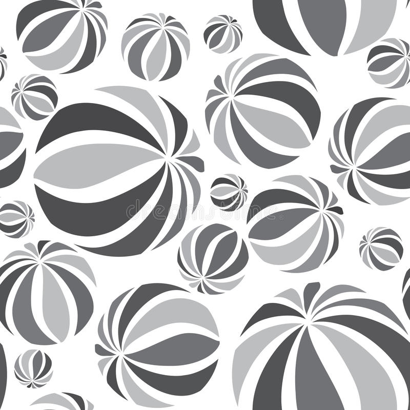 Abstract geometric striped balls pattern. Circular texture. Abstract geometric striped balls seamless pattern. Circular texture for wallpaper, surface or cover stock illustration