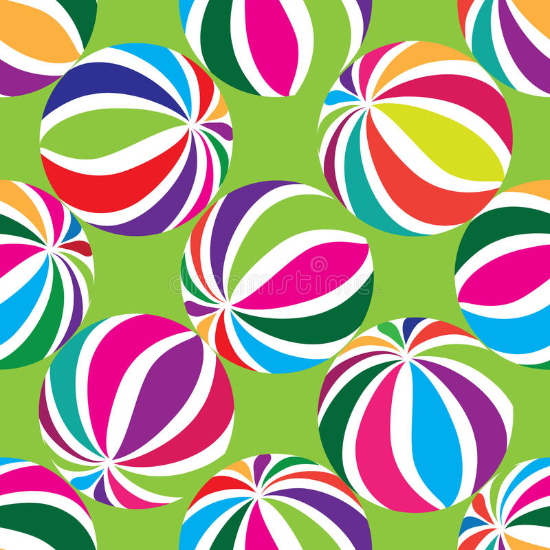 Abstract geometric striped balls seamless pattern. Circular texture for wallpaper, surface or cover. Fun funky background. Festive wallpaper royalty free illustration
