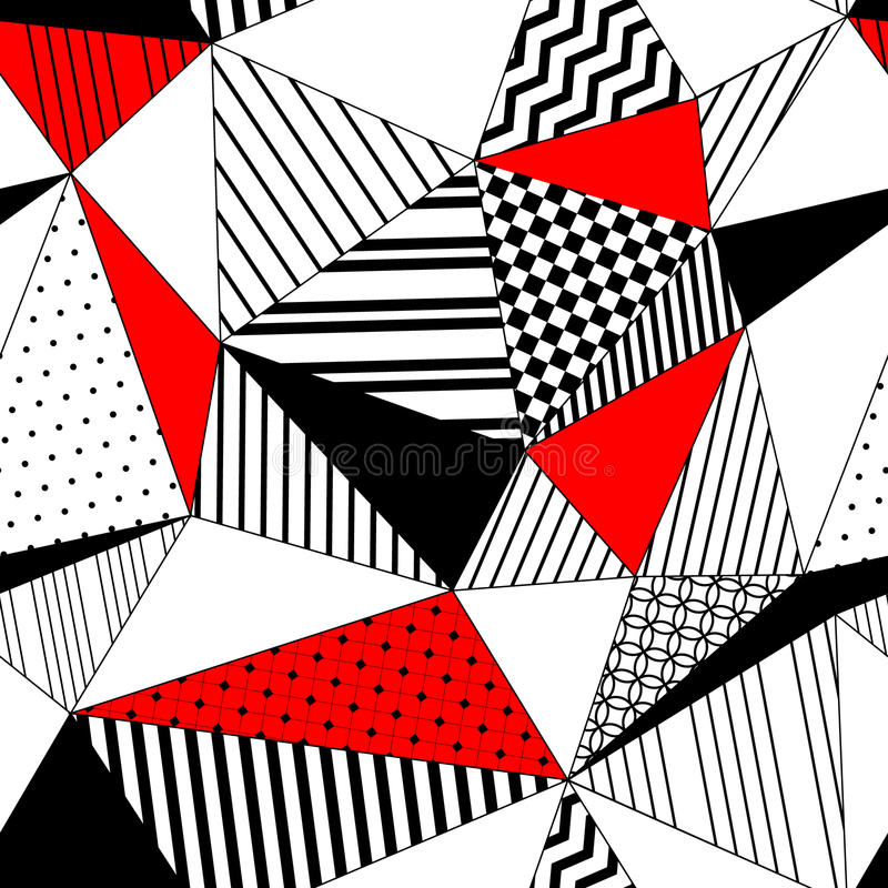 Abstract geometric striped triangles seamless pattern in black white and red, vector royalty free illustration