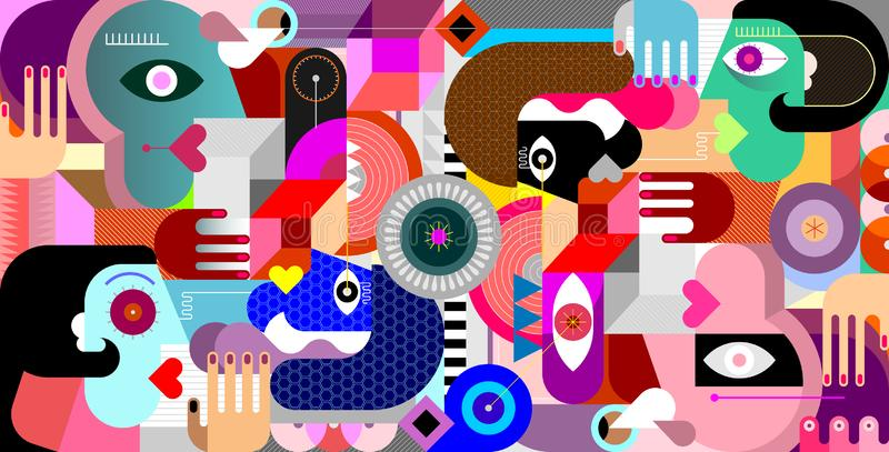 Abstract Geometric Style Group of People stock illustration