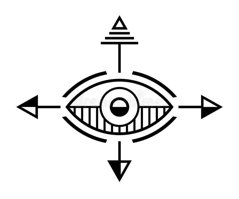 Abstract geometric symbol. Sacred geometry sign. stock illustration