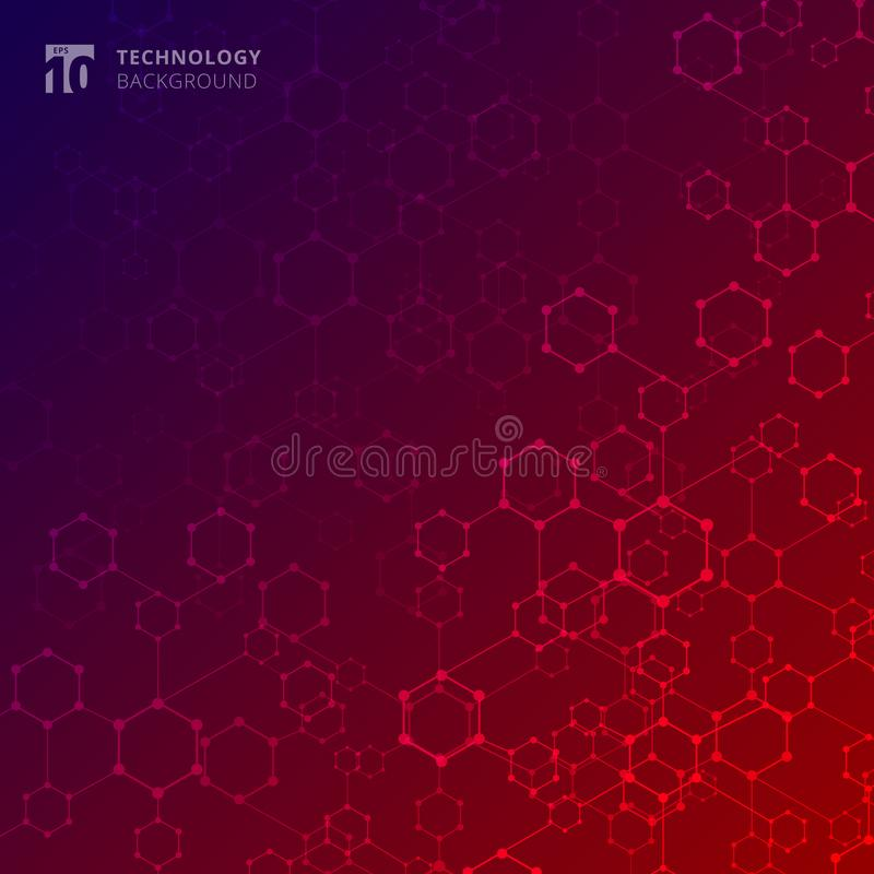 Abstract geometric technology hexagon with dots lines connection royalty free illustration
