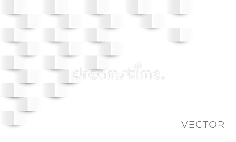 Abstract geometric texture background, white paper 3D fold pattern, vector. Modern graphic design, Geometric gray square texture royalty free illustration