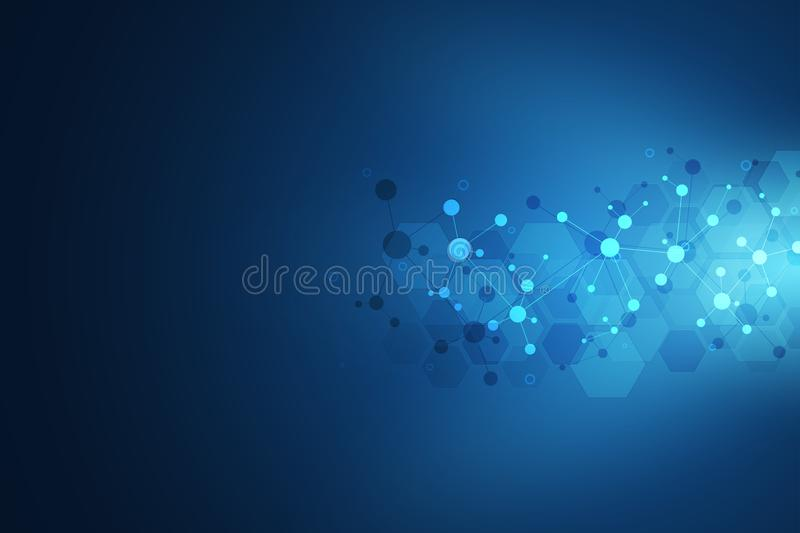 Abstract geometric texture with molecular structures and neural network. Molecules DNA and genetic engineering. Futuristic artificial intelligence concept vector illustration