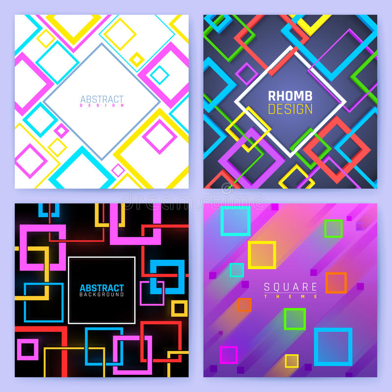 Abstract geometric vector backgrounds with color squares. Creative design business brochure template. Colored geometric poster leaflet illustration royalty free illustration