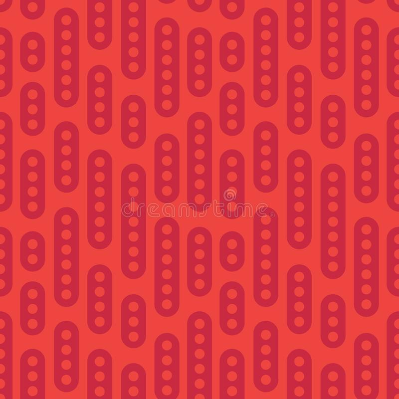 Abstract geometric vector seamless pattern. Simple red ornament on orange background. Can be printed and used as wrapping paper, royalty free illustration