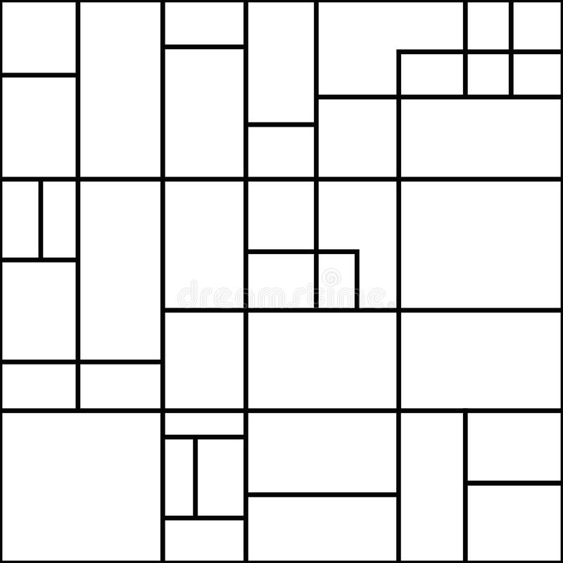 Abstract geometric white rectangles with black outlines. Seamless modern vector pattern on white background. Great for vector illustration