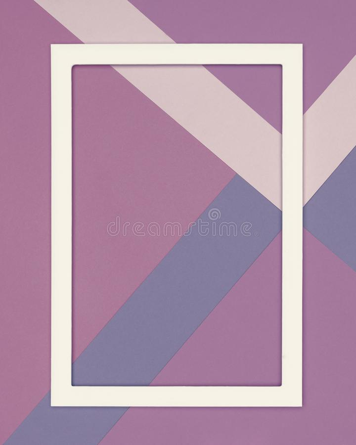 Abstract geometrical cold purple and ultra violet paper flat lay background. Minimalism and geometry template. Abstract geometrical cold purple and ultra violet stock image