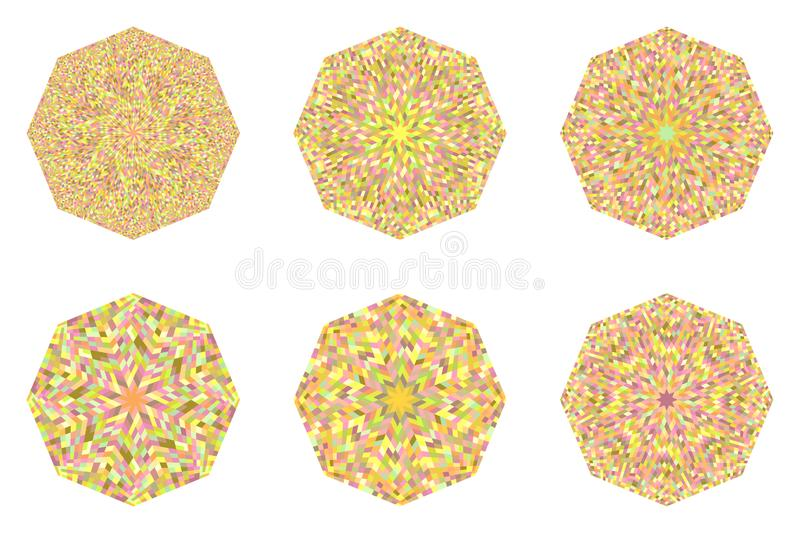 Abstract geometrical isolated tiled mosaic octagon polygon set. Isolated tiled mosaic octagon shape collection - ornamental octagonal geometrical vector elements stock illustration