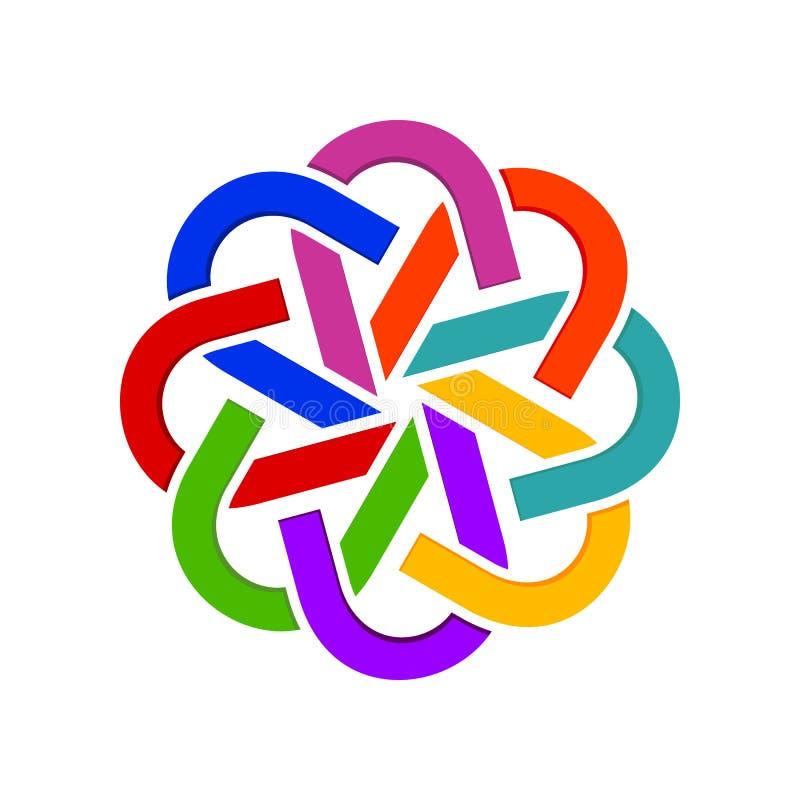 Abstract Geometrical Linked Group Symbol Logo Design. Abstract Geometrical Linked Group Vector Symbol Graphic Logo Design stock illustration