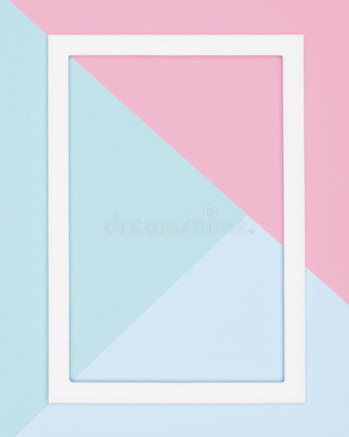 Abstract geometrical pastel blue, teal and pink paper flat lay background. Minimalism, geometry and symmetry template. Abstract geometrical pastel blue, teal stock photography
