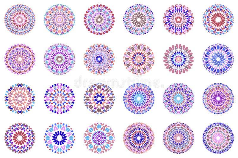 Abstract geometrical round gravel mandala symbol set. Round colorful geometrical stone mandala symbol set - ornamental vector graphic designs from geometric vector illustration