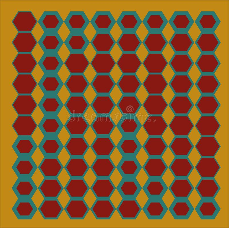 Abstract geometries hexagons from the baroque colors stock illustration