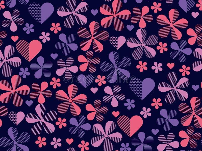 Abstract geometrisch bloemen naadloos patroon voor oppervlakteontwerp De bloemen van de de lentebloesem in rode en gele dalingskl vector illustratie