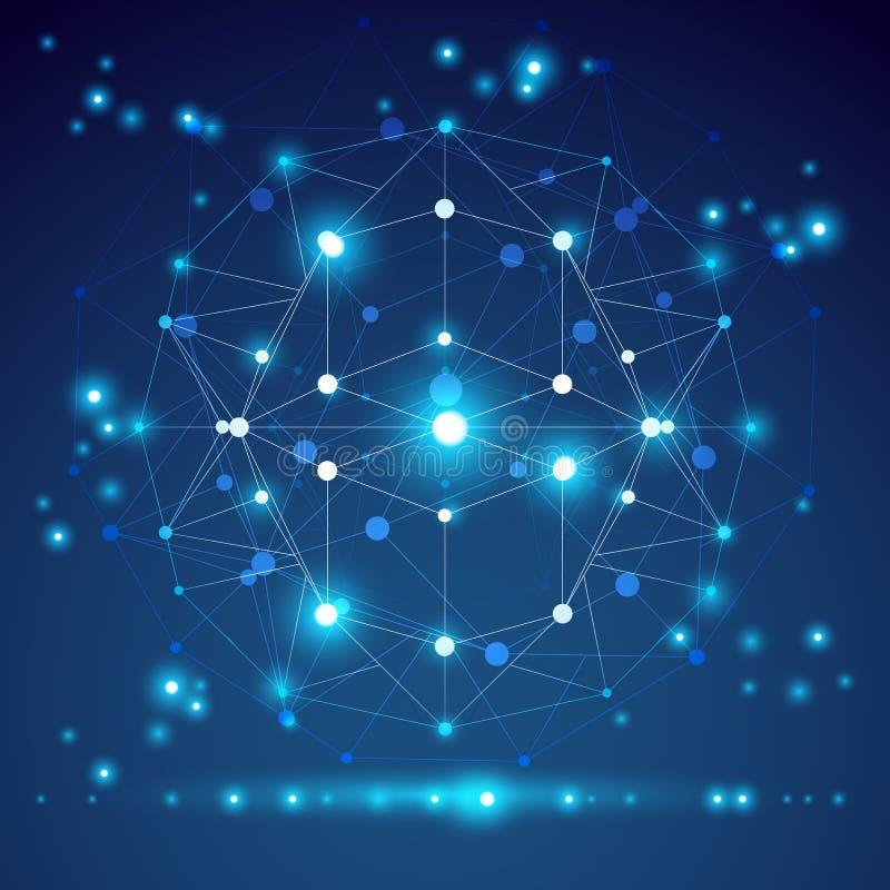 Abstract geometrisch 3D netwerkvoorwerp, moderne digitaal royalty-vrije illustratie