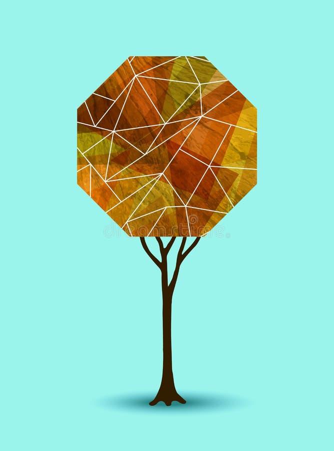 Abstract geometrisch de illustratieontwerp van de dalingsboom vector illustratie