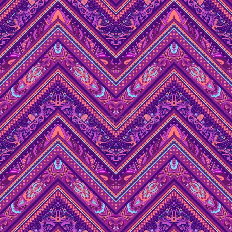 Abstract geometrisch etnisch gestreept naadloos stoffenpatroon, vecto royalty-vrije illustratie