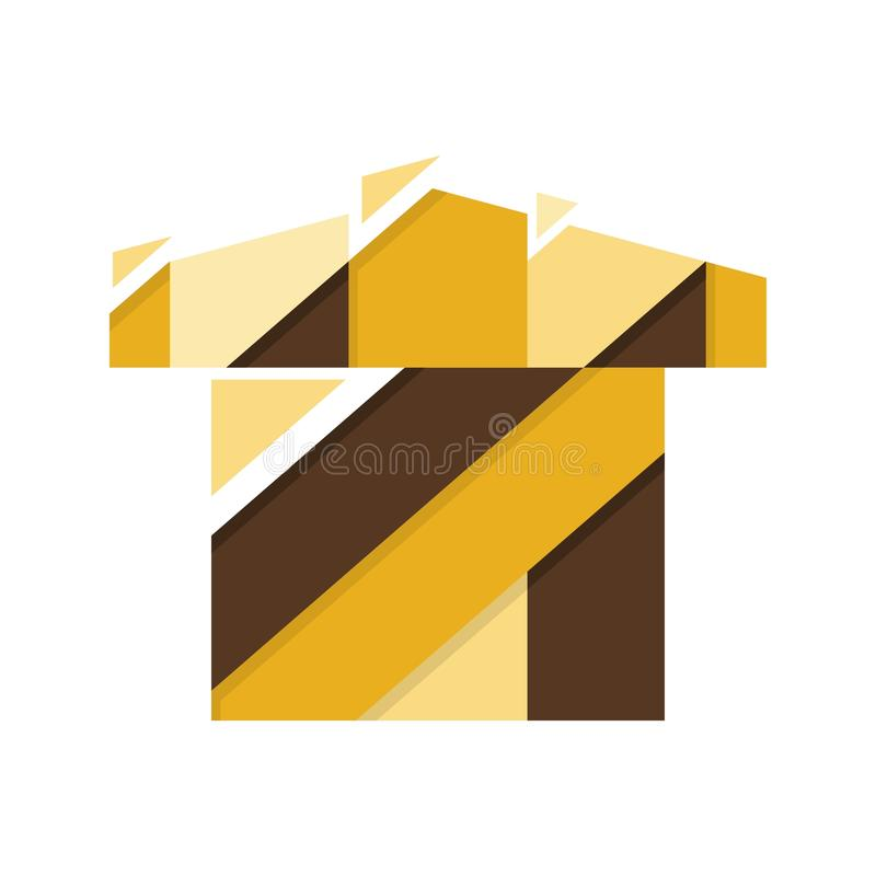 Abstract geometrisch geel die huis op witte achtergrond, vectorillustratie wordt geïsoleerd vector illustratie
