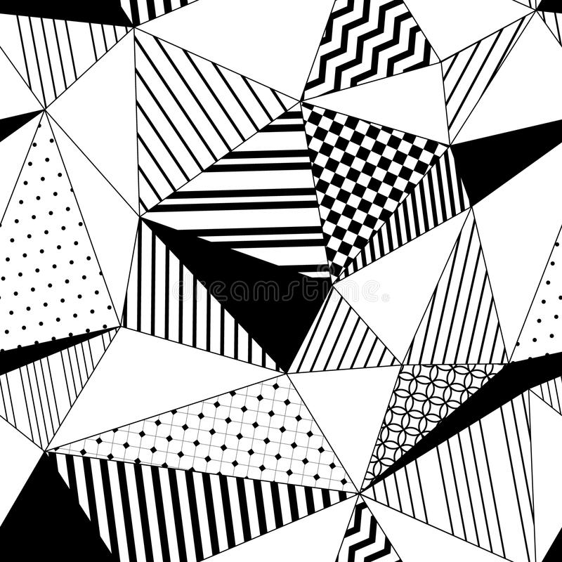 Abstract geometrisch gestreept driehoeken naadloos patroon in zwart-wit, vector vector illustratie