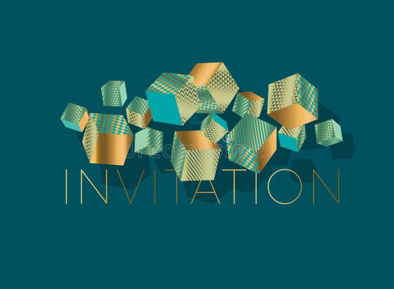 Abstract geometrisch kubuselement voor kaart, uitnodiging stock illustratie