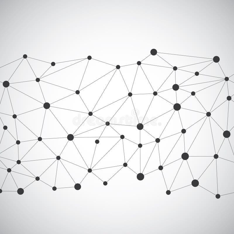 Abstract geometrisch laag polyconcept als achtergrond, Molecule en Communicatie stock illustratie
