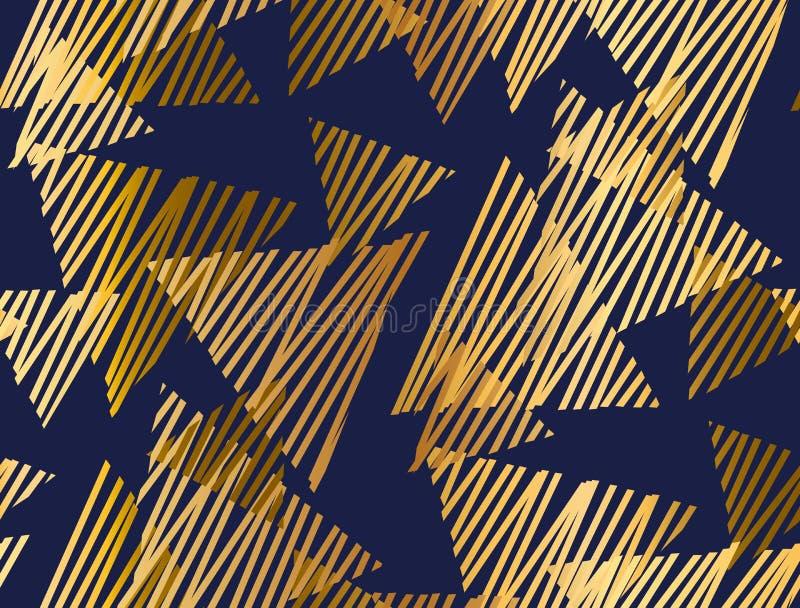 Abstract geometrisch luxe naadloos patroon met driehoekselement stock illustratie