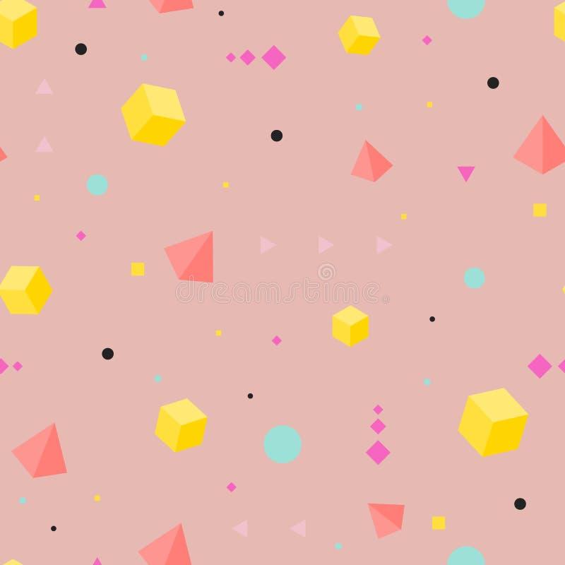 Abstract geometrisch naadloos patroon Isometrische vormen vector illustratie