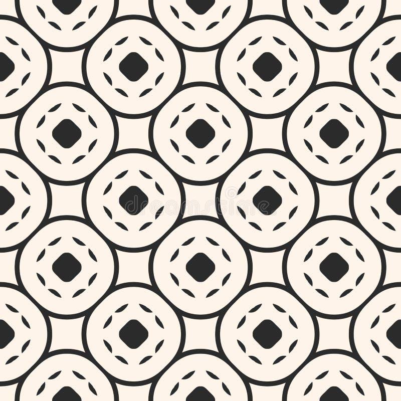 Abstract geometrisch naadloos patroon met cirkelnetwerk, gebogen l vector illustratie