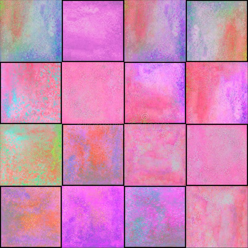 Abstract geometrisch naadloos patroon met vierkanten Kleurrijk watercolourkunstwerk royalty-vrije stock foto's