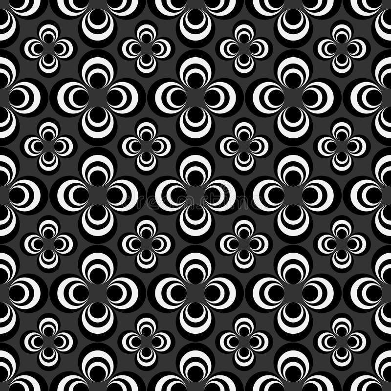 Abstract geometrisch naadloos patroon, zwart-wit stijlpatroon met cirkel royalty-vrije illustratie